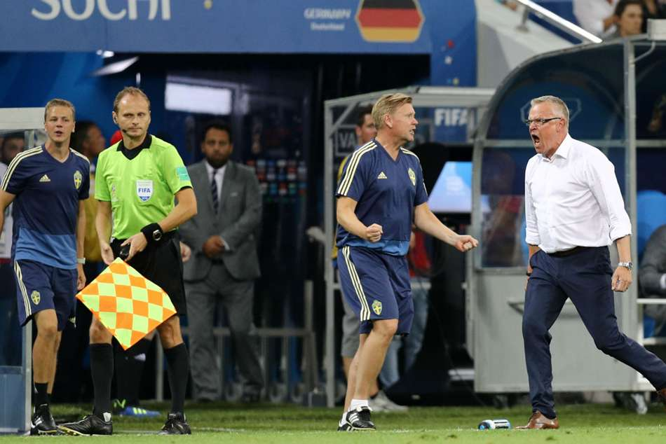 Sweden boss Janne Andersson (right) shows his anger towards Germany bench