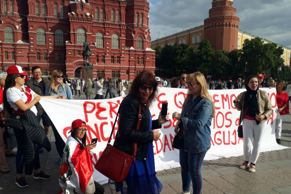 Peru supporters were to be seen all over Moscow