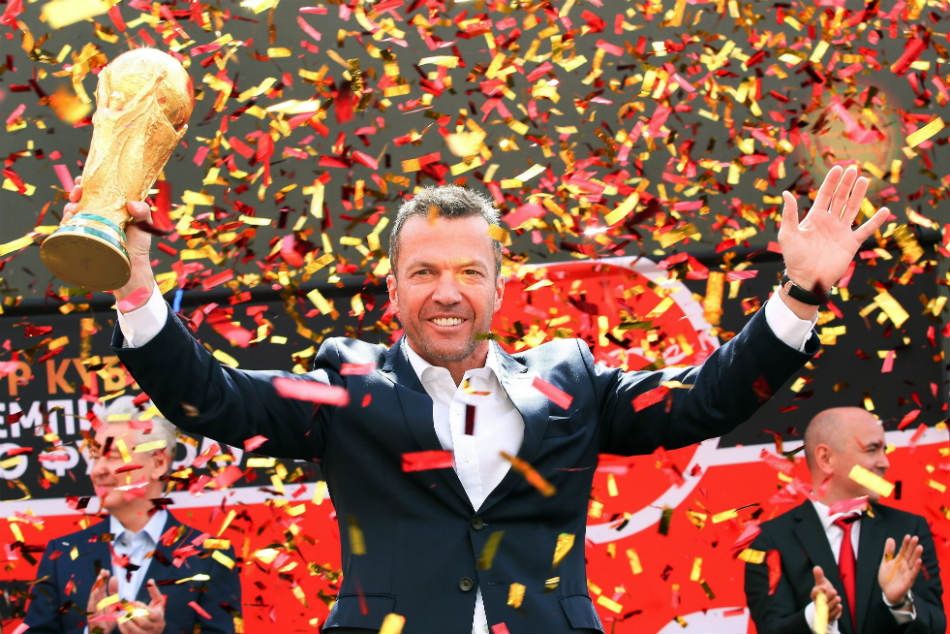 Former German soccer star Lothar Matthaus attends a ceremony to welcome the FIFA World Cup trophy at Manezh Square in Moscow, Russia.