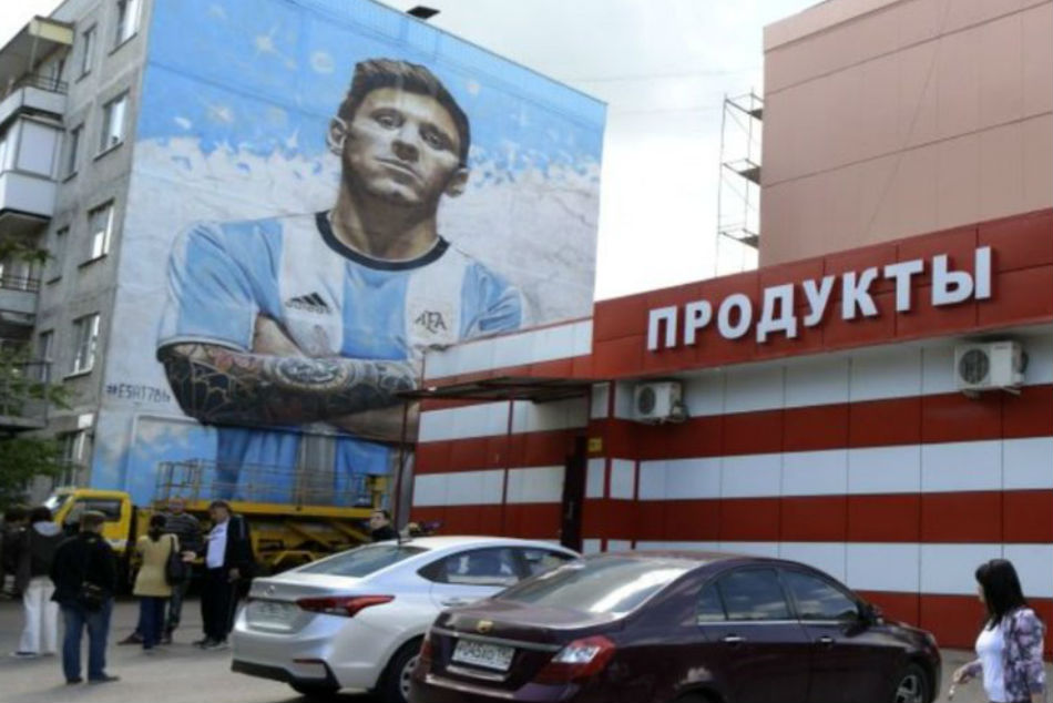 Fifa World Cup 2018 Messi The Superstar Illuminating Small Russian Town
