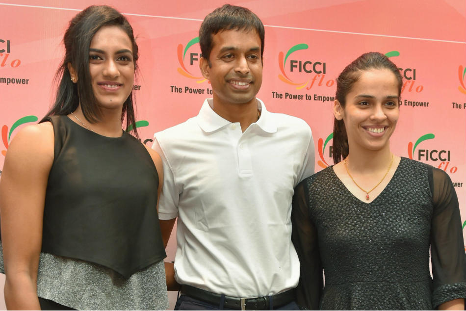 PV Sindhu and Saina Nehwal with national coach Pullela Gopichand