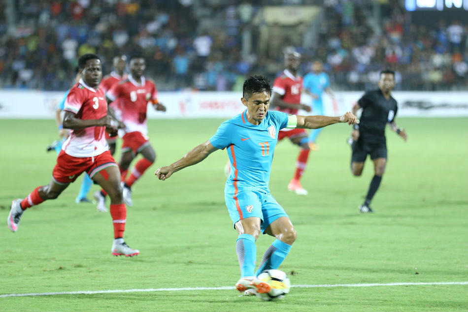 Indias Sunil Chhetri in action against Kenya during the Intercontinental Cup 2018 final in Mumbai on Sunday (Image: AIFF Media)