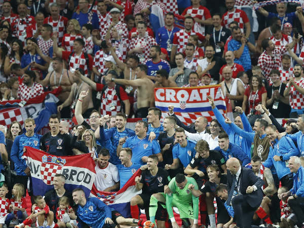 The Croatia team celebrates at the end of the semifinal match against England in the Luzhniki Stadium in Moscow on Wednesday