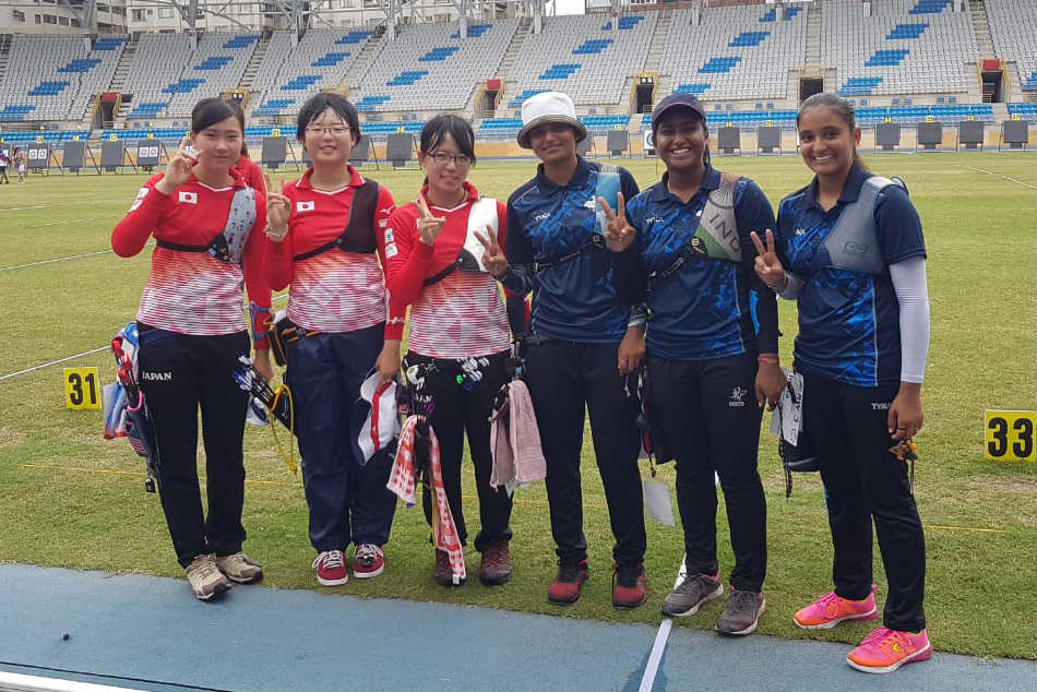 The Indian womens recurve team is all smiles after defeating Japan in the bronze medal playoff (Image: Twitter)