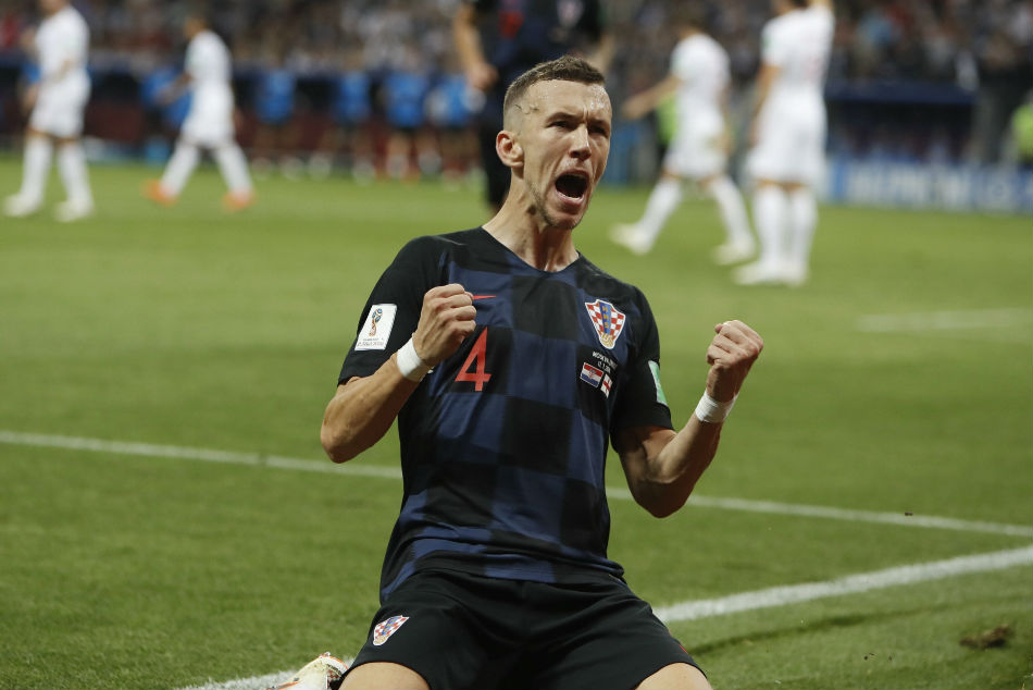 Ivan Perisic of Croatia is overjoyed after scoring the equaliser against England during their FIFA World Cup 2018 semi-final