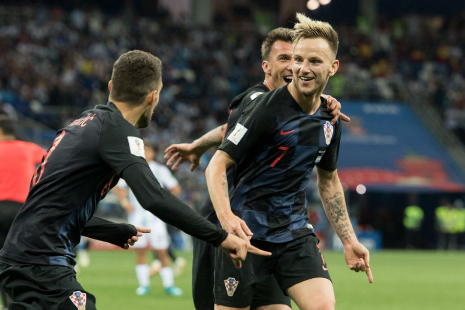 Image result for pic of rakitic in croatia color 2018 world cup