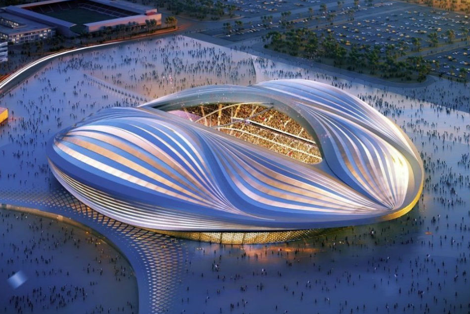 A replica of one of the proposed stadiums for Qatar 2022 World Cup
