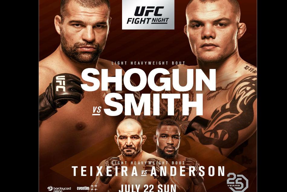 Ufc Fight Night 134 Shogun Vs Smith Fight Card Tv Schedule