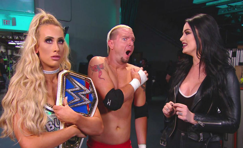 From left, Carmella, Ellsworth, and Paige (image courtesy WWE.com)
