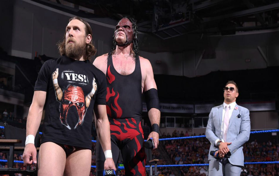 Daniel Bryan (left) along with Kane and the Miz in Samckdown (image courtesy WWE.com)