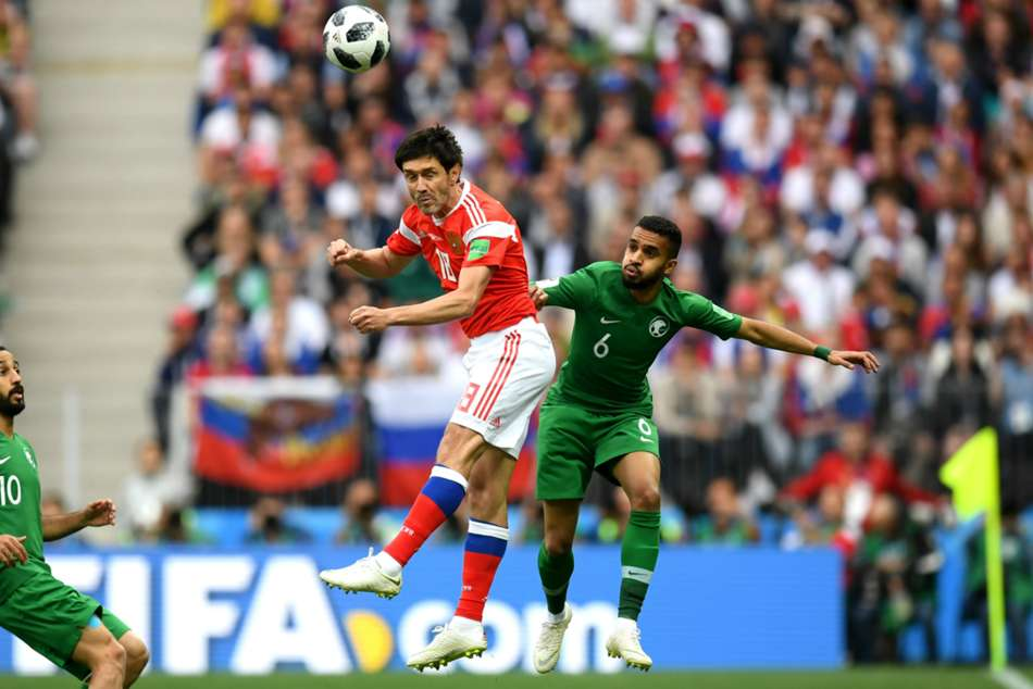 Yuri Zhirkov of Russia in action against Saudi Arabia during the FIFA World Cup 2018