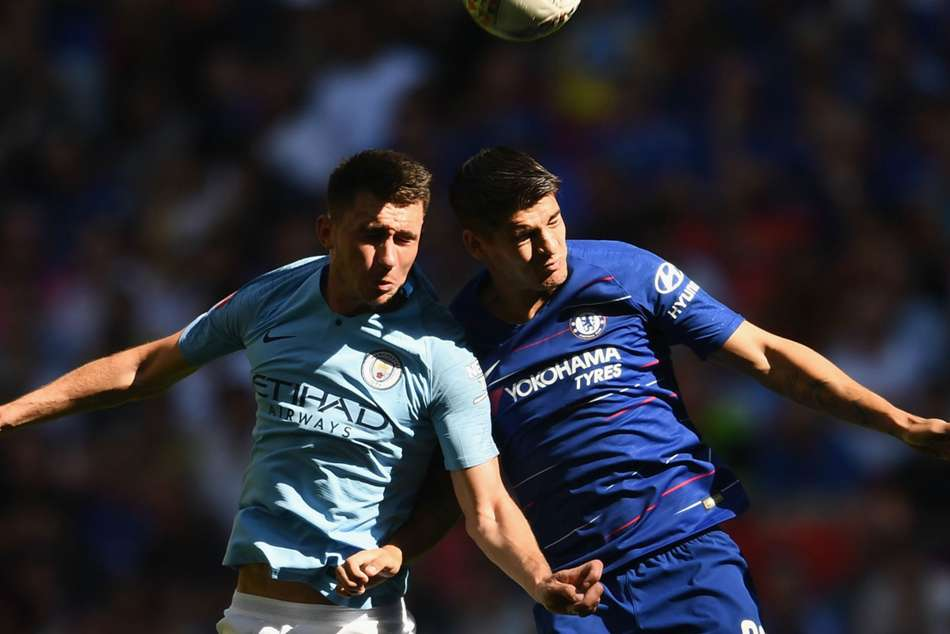 Manchester Citys Aymeric Laporte (left) and Chelseas Alvaro Morata in action during the Community Shield