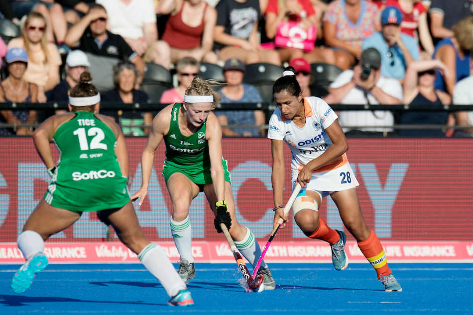 Indias Rani Rampal in action against Ireland during the Womens Hockey World Cup 2018 quarterfinal in London on Thursday