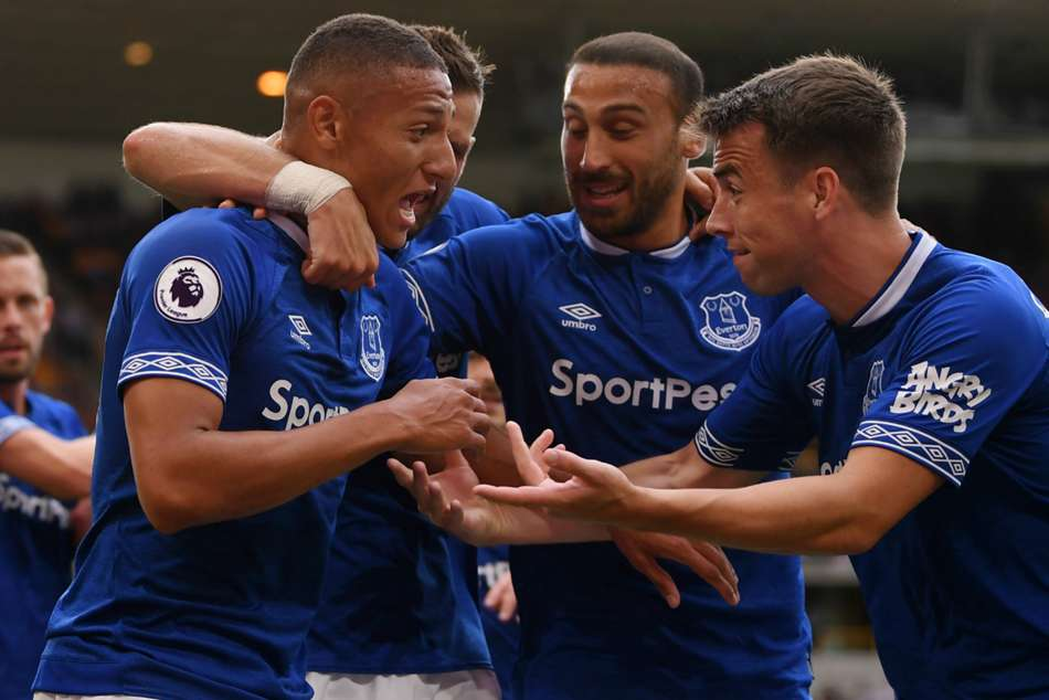 Richarlison (left) celebrates with Everton team-mates after the second goal