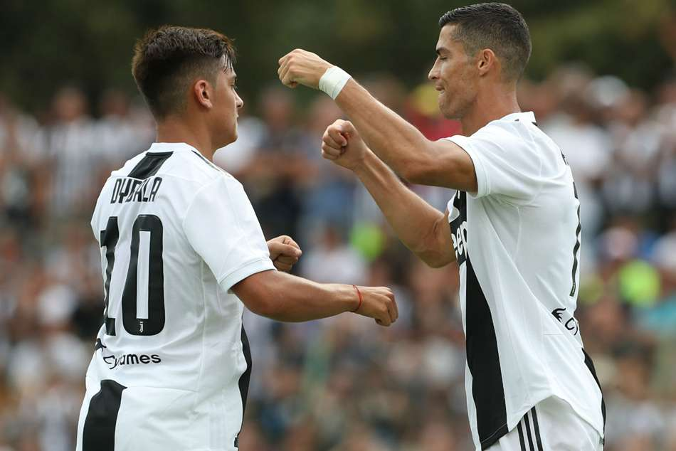 Juventus Ronaldo celebrates after scoring against their Primavera team