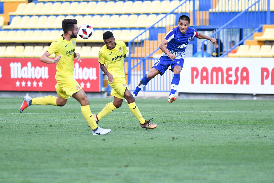 Bengaluru FC skipper Sunil Chhetri in action against Villarreal CF B at the Mini Estadi in Villarreal on Saturday