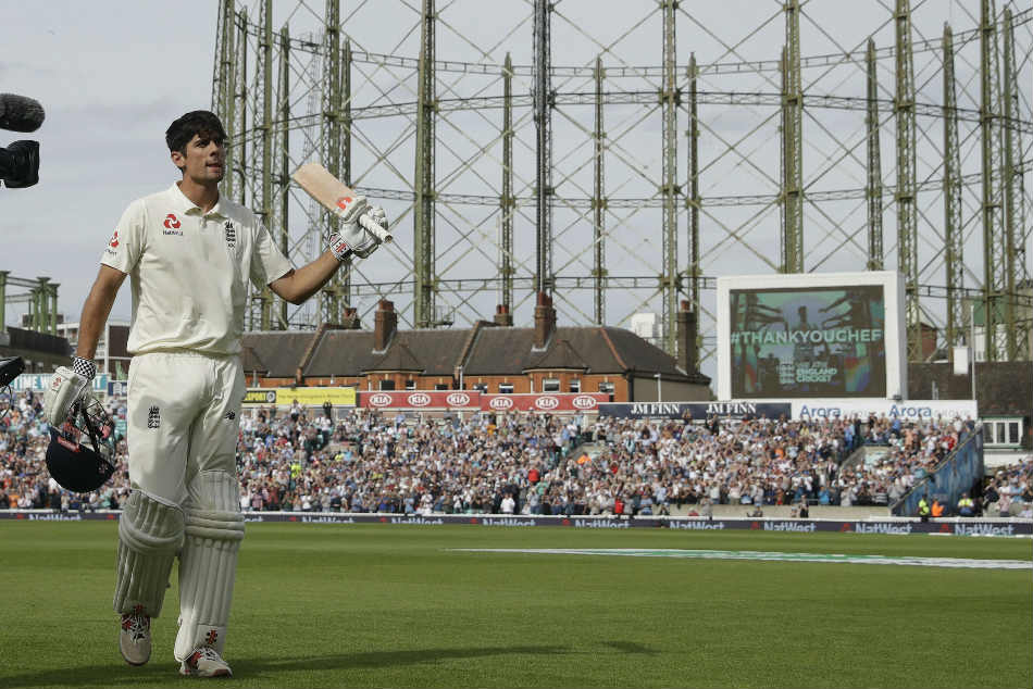 Englands Alastair Cook walks off the field after losing his wicket during the fifth test match against India at the Oval in London