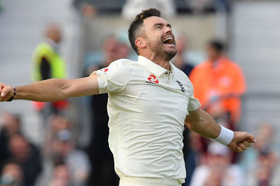 Englands James Anderson celebrates after going past Glenn McGrath in the all-time Test wicket-takers list