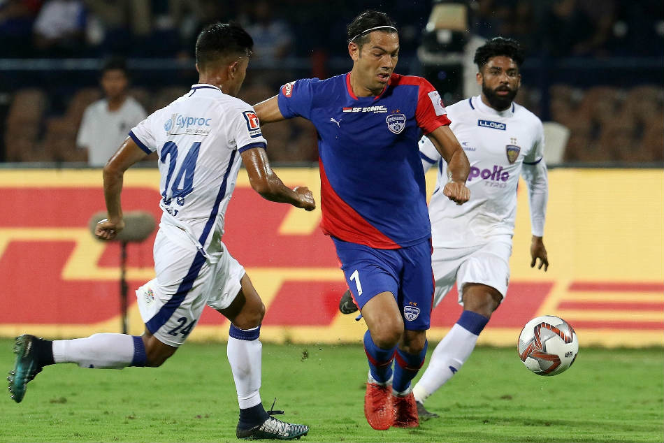 Bengaluru FC striker Miku in action against Chennaiyin FC during their match at the Sree Kanteerava Stadium on Sunday. Credit: ISL Media