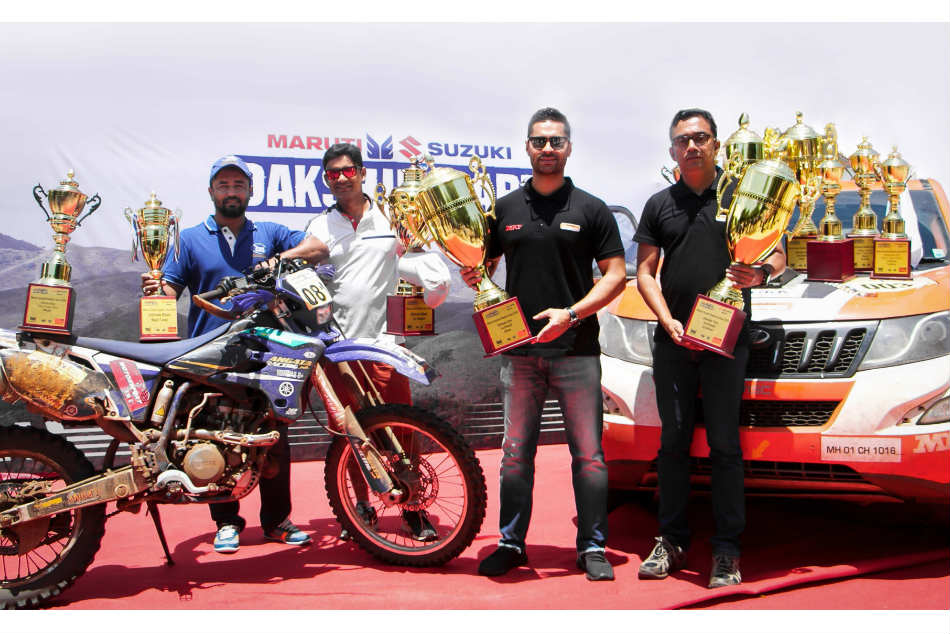 Gaurav Gill (second from right) with navigator Musa Sherif and biker Vishwas SD (second from left) after the Dakshin Dare competition