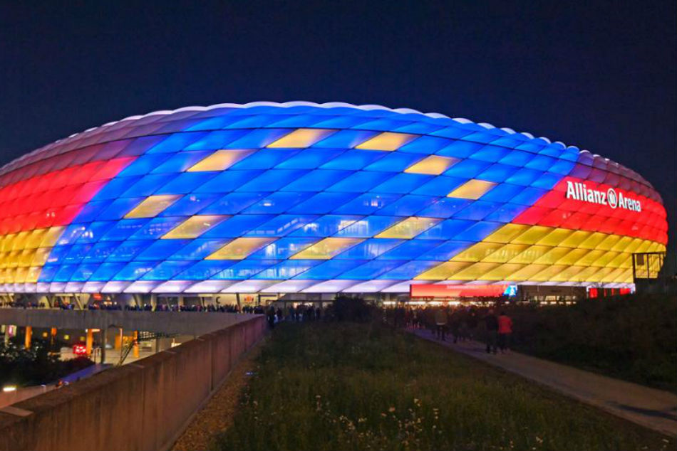 The Allianz Arena is seen in German and European flag colors in support of the countrys bid to host Euro 2024.