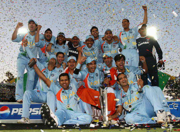 India players celebrate the 2007 World T20 victory in South Africa