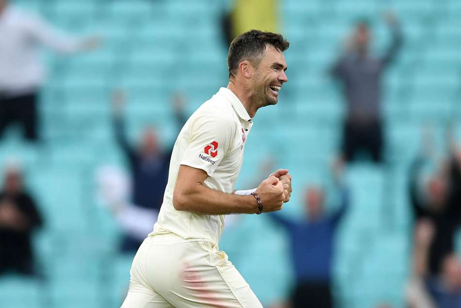 James Anderson celebrates after the wicket of Indias Mohammed Shami on Day 5 of their fifth Test at the Oval