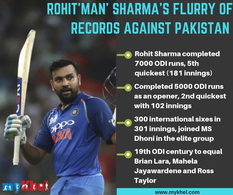 India Vs Pakistan Records Tumble As Rohit Sharma Shikhar Dhawan Star For India