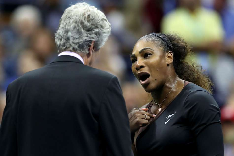 Serena Williams arguing with the match referee of the US Open final