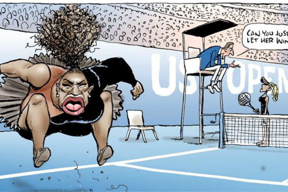 An Australian cartoonist has come under fire for a sketch he made on Serena Williams US Open meltdown. Credit: Twitter