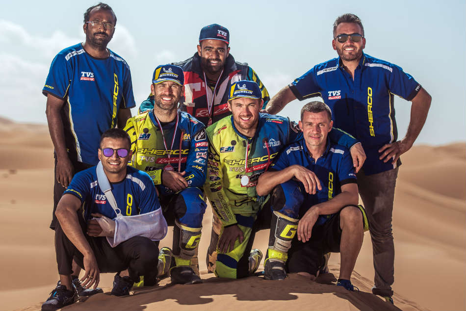The victorious Sherco TVS Factory Rally team