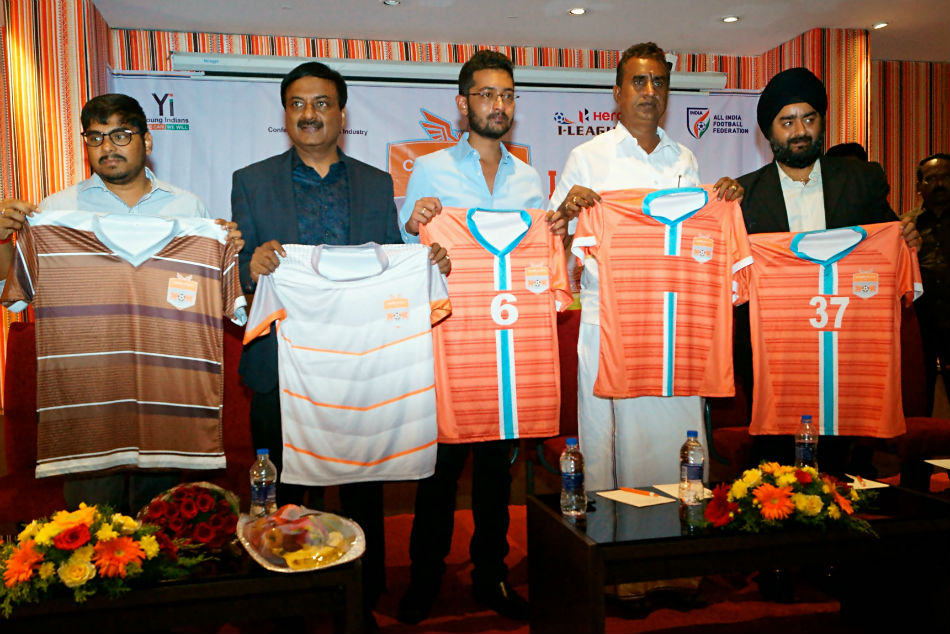 Chennai City FC officials and others at the launch of new jersey