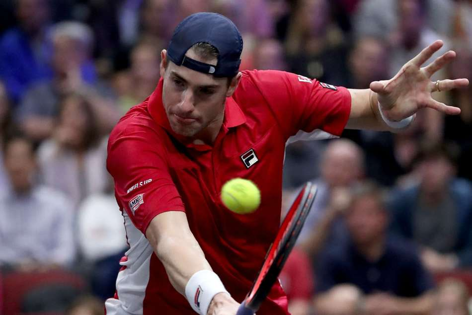 John Isner in action at the Vienna Open
