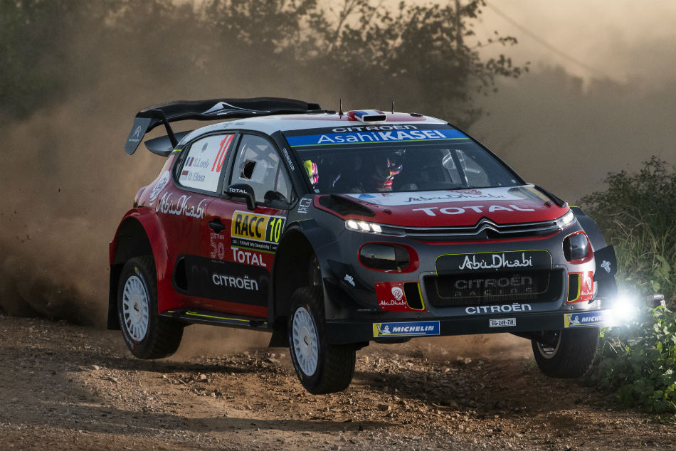 Sebastien Loeb takes to the air during the Rally of Catalunya