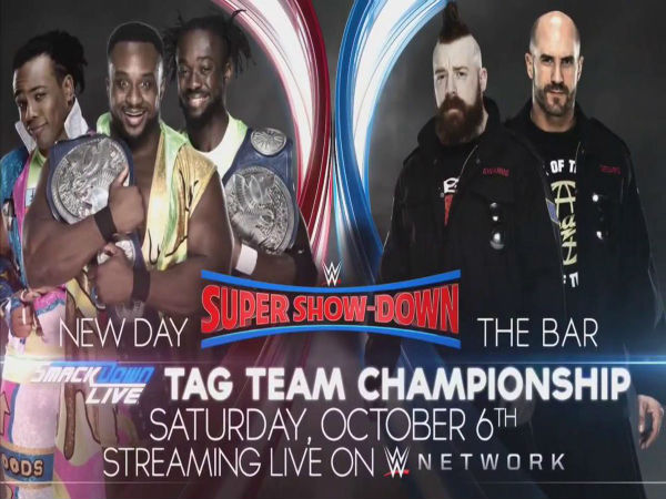 Smackdown Tag Team Title Match: The New Day (c) vs The Bar