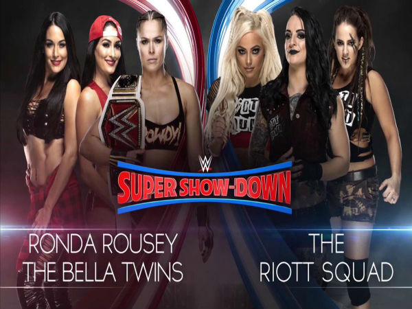 Six-Woman Tag Team match: Ronda Rousey & The Bella Twins vs The Riott Squad