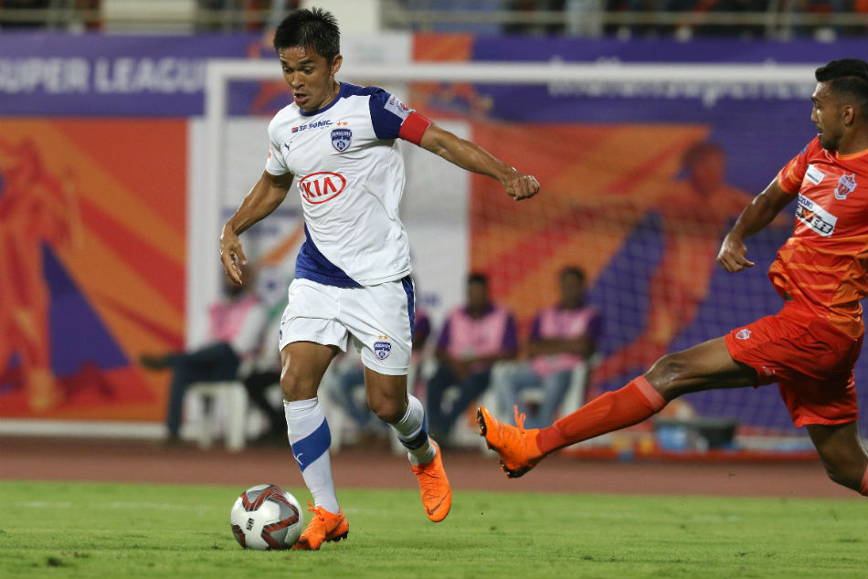Sunil Chhetri of Bengaluru FC scores a goal which leads the team in first half against FC Pune City in Hero ISL