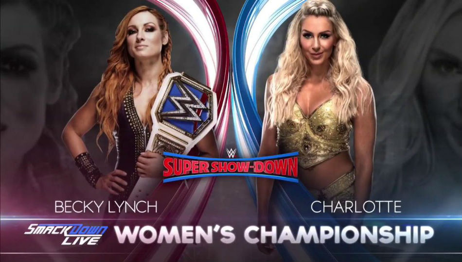 Smackdown Womens Championship match at Super Show Down (image courtesy Twitter)