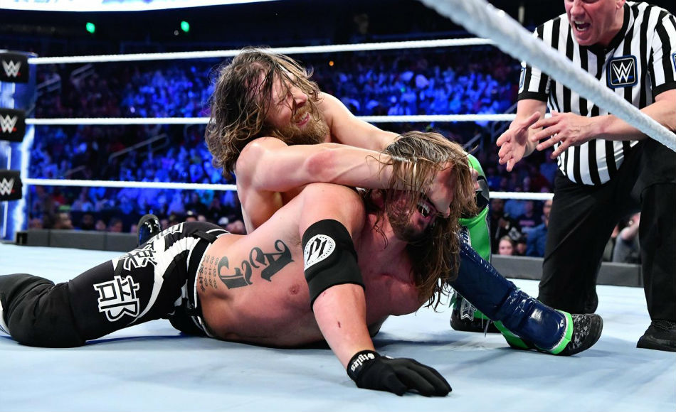 Daniel Bryan locks the YES lock on AJ Styles (image courtesy WWE.com)