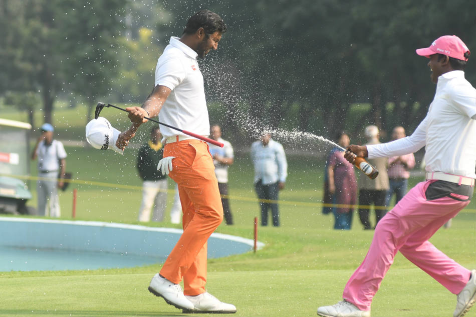 Bengaluru golfer S Chikkarangappa celebrates after his win in Chandigarh on Sunday. Credit: PGTI