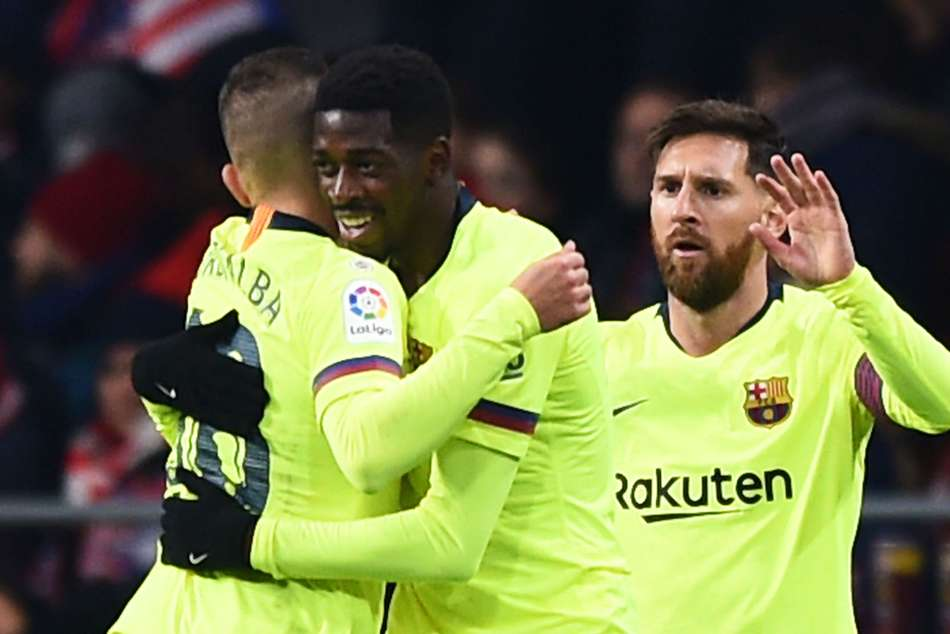 Barcelona forward Ousmane Dembele (centre) scored in draw against Atletico Madrid