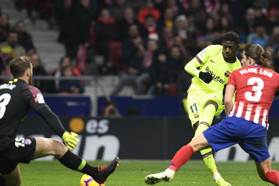 Ousmane Dembele came off the bench to net Barcelonas equaliser. Image: Twitter