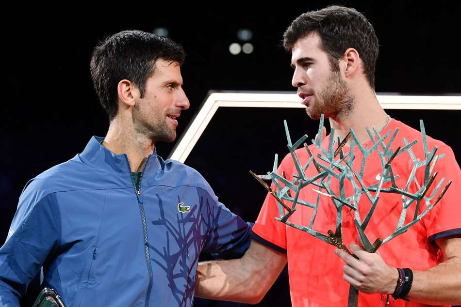 Novak Djokovic (left) and Paris Masters winner Karen Khachanov