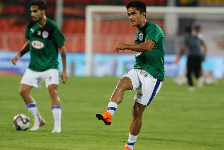 Sunil Chhetri will be the cynosure of all eyes as he makes his 150th appearance for Bengaluru FC. Image: ISL Media