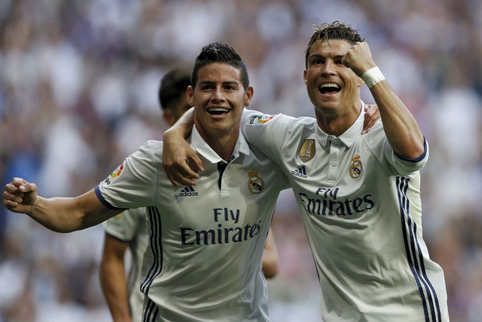 James Rodriguez (left) and Cristiano Ronaldo at Real Madrid