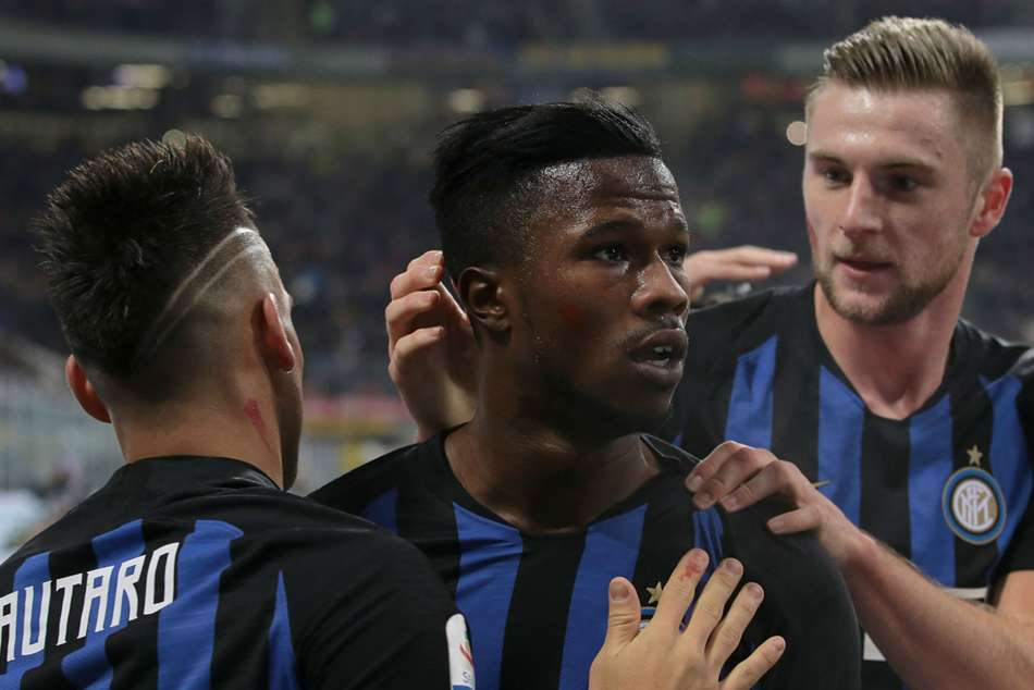 Keita Balde (centre) scored his first goals for Inter
