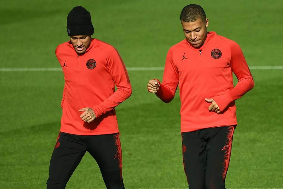 PSG duo Neymar and Kylian Mbappe in training ahead of clash with Liverpool