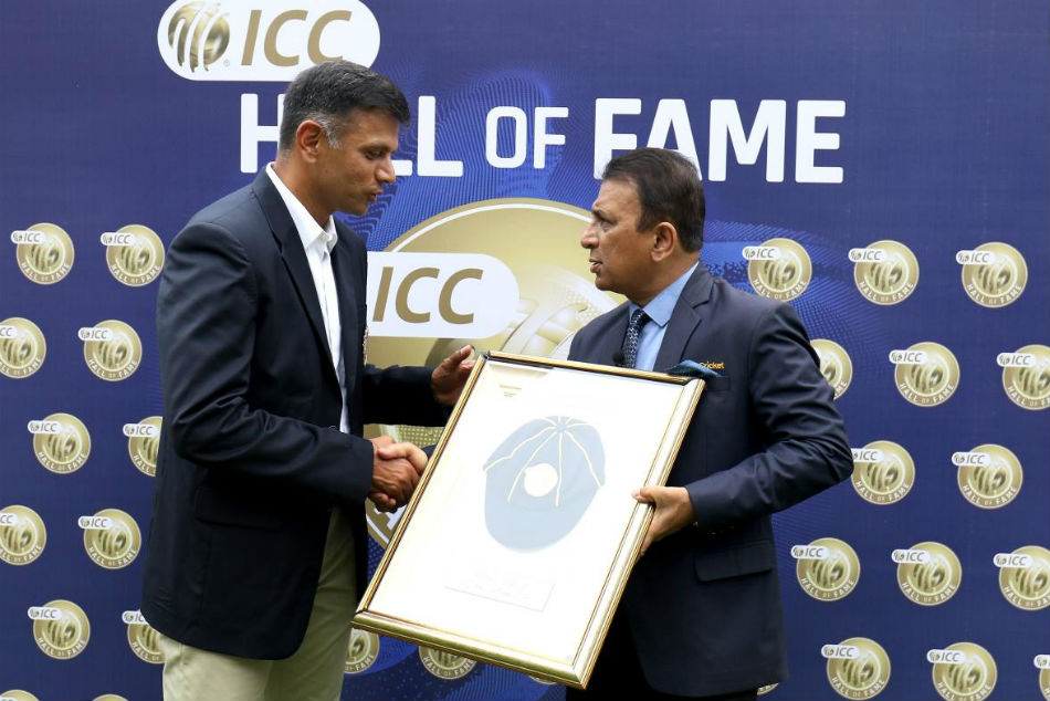 Rahul Dravid receives ICC Hall of Fame award from Sunil Gavaskar