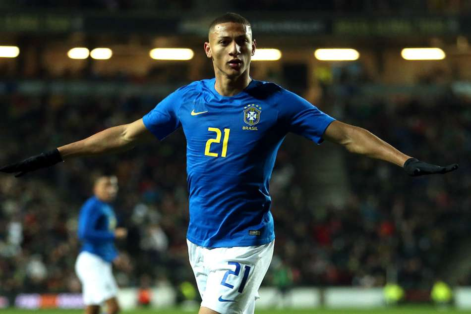 Richarlison celebrates after scoring in Brazils win over Cameroon