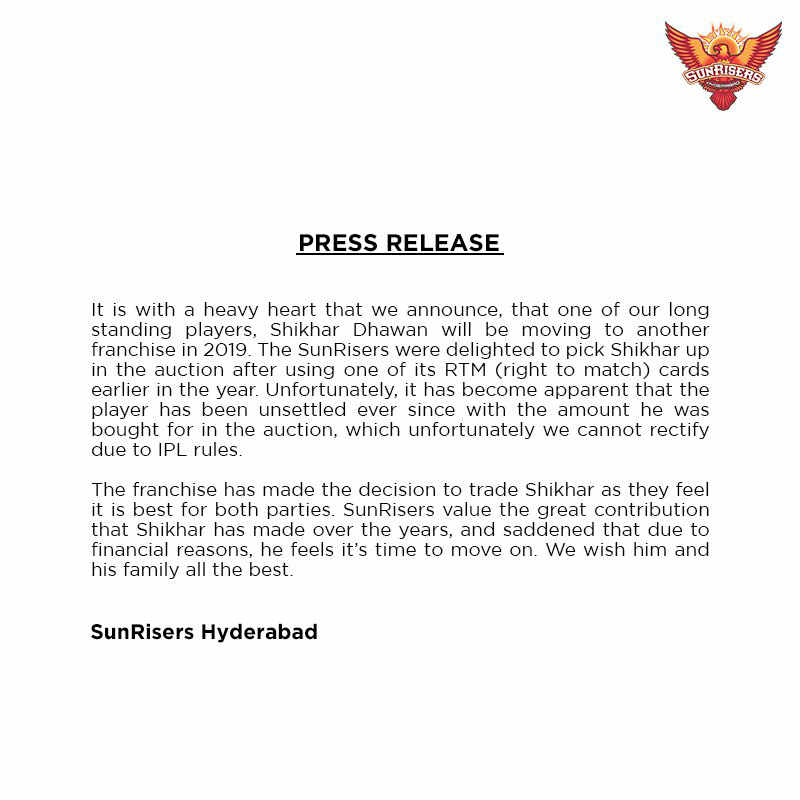 The Sunrisers press release announcing Shikhar Dhawan trade